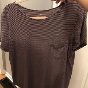 Maroon and gray striped tee